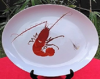 Prawn/Shrimp Design Porcelain Serving Platter, Y.Y Made in Japan Large Serving Dish, Yonemoto Store Honolulu Hawaii Collectible Plate