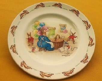 Bunnykins Plate By Royal Doulton Made in England Signed by Barbara Vernon, Collectible Children's Plate Bunnies Design, Vintage Baby Dish