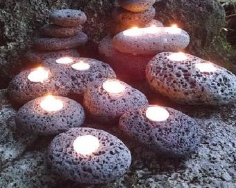Rock Candle Holder, Tealight Rock Candle Holder, Rustic Candle Holders