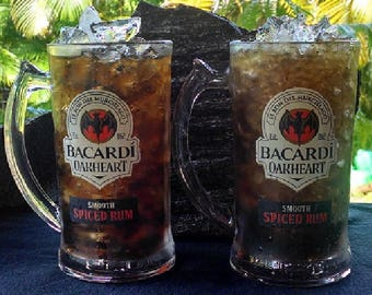 Vintage Bacardi Oakheart Glass Mugs Set of Two (2), Smooth Spice Rum, El Ron Del Murcielago, Heavy Glass Beer Mugs