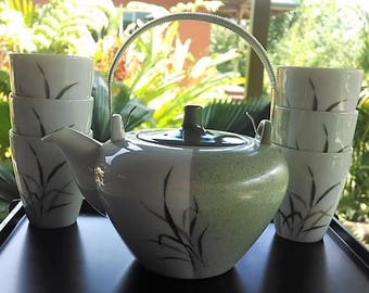 Noritake Nippon Toki Kaisha Tea Set (Teapot and Six cups), Vintage Japanese China Tea Set Bamboo Design, Green/White China Teapot and Cups