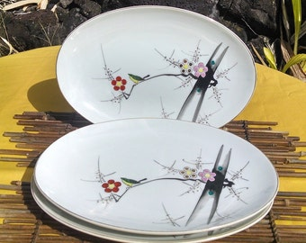 Porcelain Platters Made in Japan Plum Blossom Design, Vintage Sushi/Sashimi/ Appetizer Serving Plates, Y.Y Yonemoto Store Honolulu Hawaii