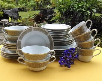 Noritake China Justine Pattern #6806, FREE SHIPPING! Made in Japan China Set for four, Tan Floral Design and Gold rim, Free Shipping!