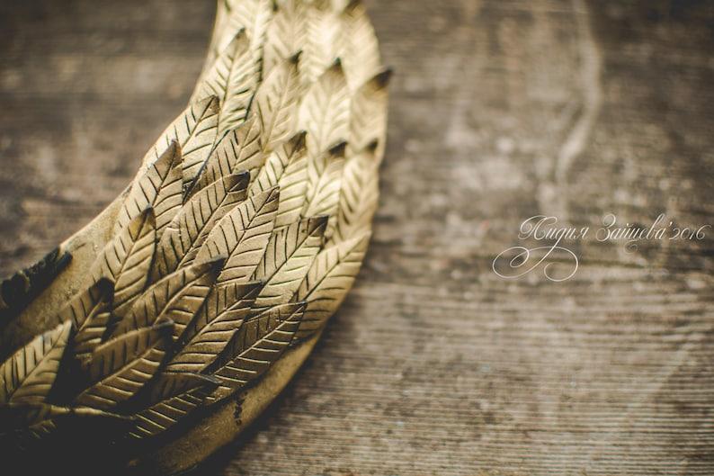 Statement necklace Bib necklace gold necklace gold leaf necklace polymer clay necklace Large gold necklace