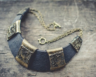 Bib necklace Statement necklace black gold necklace ethnic boho necklace  polymer clay necklace large necklace polymer clay necklace