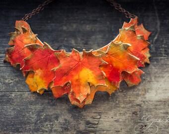 Maple Leaf Statement necklace Bib necklace  bright necklace autumn necklace polymer clay necklace large necklace orange red gold necklace