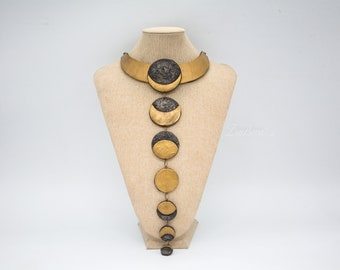 Long Moon phases polymer clay Statement necklace