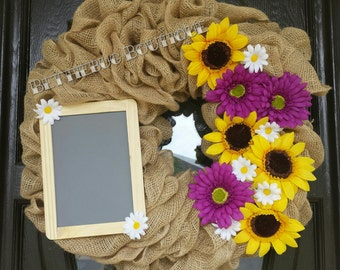 Burlap wreath with sunflowers and daisies