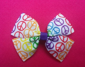 Peace Sign Hairbow-Multicolored