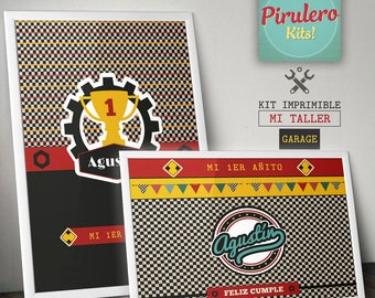 Printable Kit my workshop and Garage_race Cars_autos of race - printable kit - party decorations