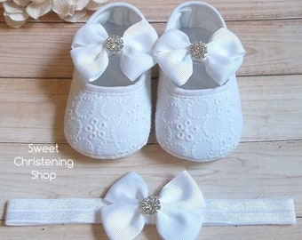 66bdf5d79123d Christening Shoes, White Eyelet Lace Shoes, Baby Girl Christening Shoes, Baptism  Shoes, Baptism Shoes Girl, Christening Shoes and Headband