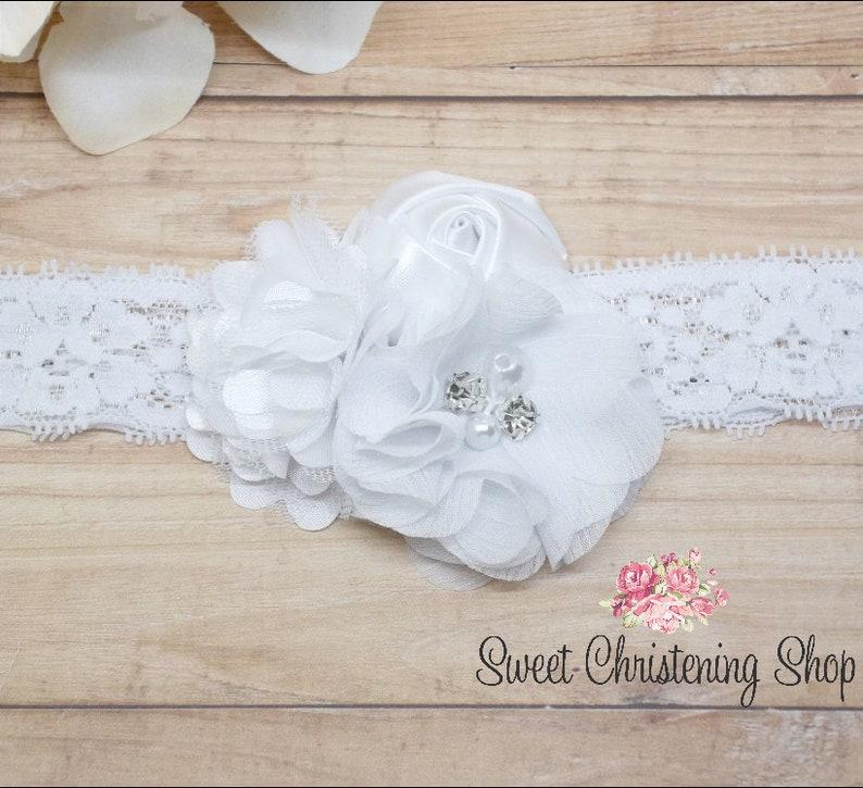 White Flower Headband Christening Headband Ivory Baptism Headband White Baptism Headband Floral Lace Headband Ivory Flower Headband
