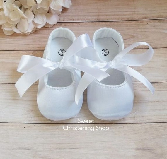 White Satin Baby Girl Baptism Shoes Christening Shoes Baby Girl White Satin Ballerina Shoes Baby Wedding Shoes Flower Girl Shoes