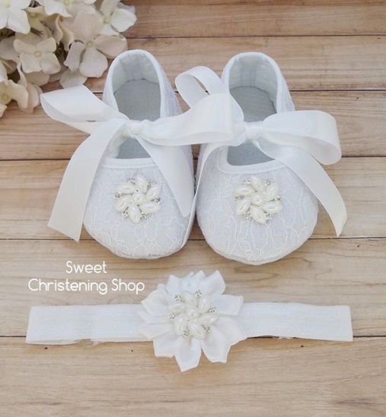 43709461ffe27 Christening Shoes and Headband, WHITE Lace Baby Girl Shoes, Lace Baby Shoes  with Pearl Rhinestone Buttons, Baptism Shoes, Baby Wedding Shoes