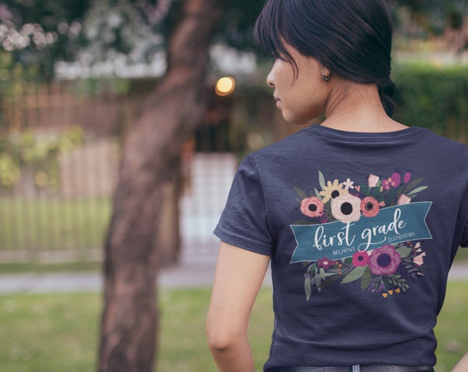 Spring Floral Personalized Teacher Tshirt with Pocket & Back Print | First Grade
