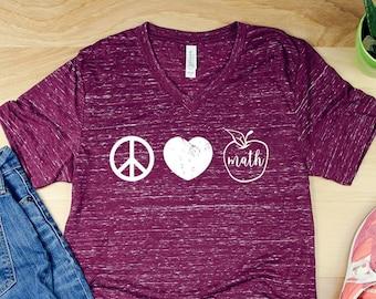 Custom Peace Love Teacher Unisex V-Neck Short Sleeve T-shirt | Vintage-Feel & Super-Soft | SPED Math Counselor Staff