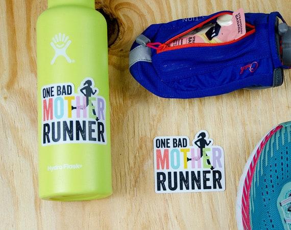 One Bad Mother Runner Running 3 x 2.69 inch Die Cut Vinyl Sticker | Laptop Sticker | Car Vinyl | Mother's Day