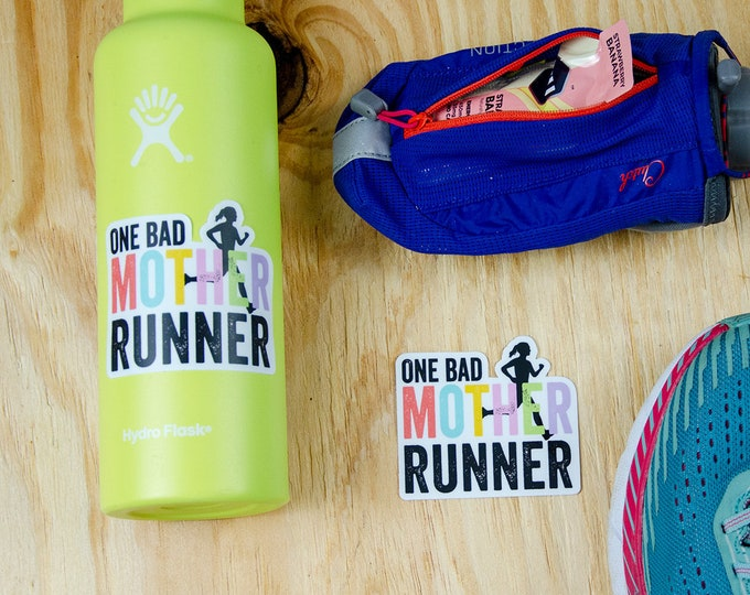 One Bad Mother Runner Running 3 x 2.69 inch Die Cut Vinyl Sticker | Laptop Sticker | Car Vinyl | Mother's Day