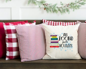 All Booked For the Holidays Christmas Reading and Librarian 18 x 18 inch Pillow with Insert