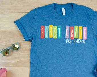 "Color Tiles ""Any"" Grade Team Teacher Shirt with Teacher Name 
