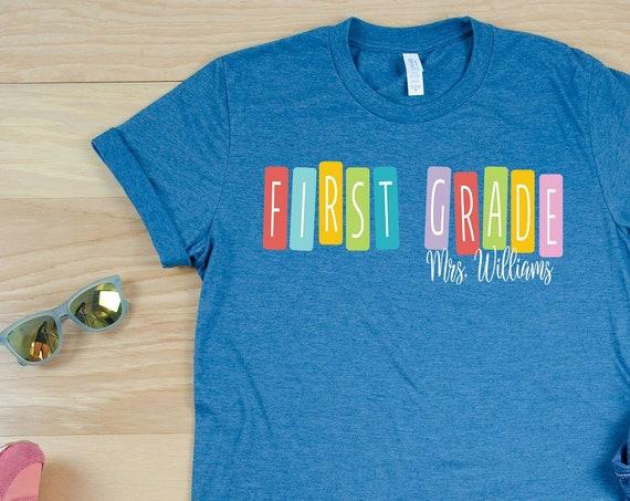 "Color Tiles ""Any"" Grade Team Teacher Shirt with Teacher Name   Grade Level Tshirt   Cute Team Shirt Elementary   First, Second, Third Grade"