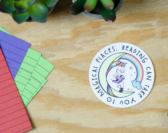 Reading Can Take You to Magical Places Unicorn Reading 3x3 Die Cut Vinyl Sticker | Laptop Sticker | Car Vinyl