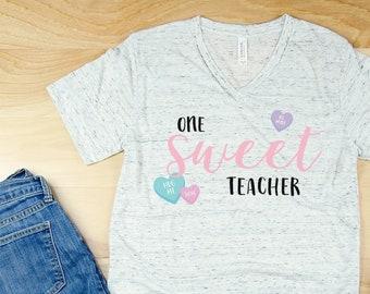 One Sweet Teacher Valentine's Day Unisex V-Neck or Crew Neck Short Sleeve T-shirt | Vintage-Feel & Super-Soft