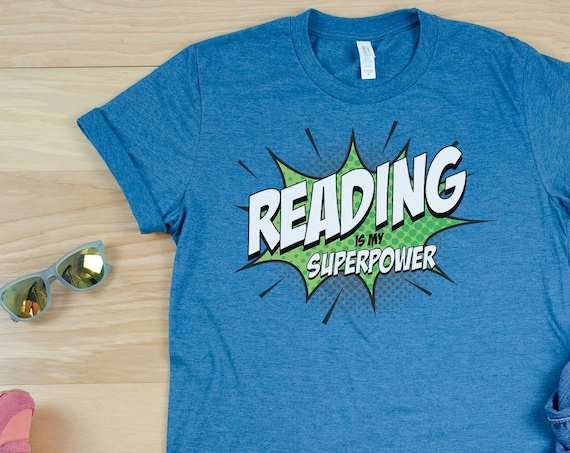 Reading is My SuperPower Librarian Tshirt | Bookish | Comic Book Style POW | Library Shirt