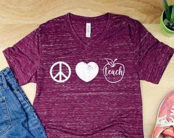 Peace Love Teacher Unisex V-Neck Short Sleeve Teacher T-shirt | Vintage-Feel & Super-Soft | Modern | First Grade Kindergarten