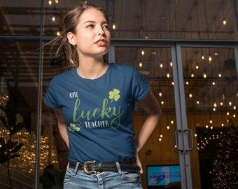 One Lucky Teacher St. Patrick's Day Tshirt | Shamrock | Cute Teacher shirt for March | Irish Green