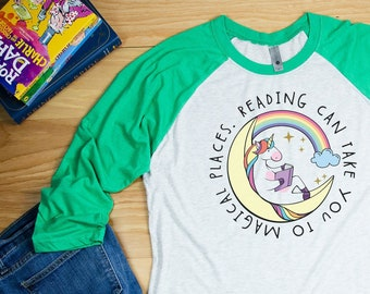 Unicorn Reading Can Take You To Magical Places Reading & Librarian Super-soft 3/4 Sleeve Raglan Tshirt | Gift for Librarian