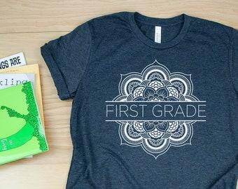 K-5th Grade Teacher T-shirt | Flower Mandala First Grade Kindergarten Level Shirt | Super-Soft  | Elementary | School Spirit Shirt