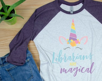 Unicorn Librarian Tshirt | Super-soft 3/4 Sleeve Raglan T-shirt | Gift for Librarian | Library Science