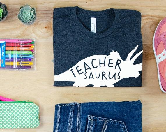 TeacherSaurus Dinosaur Themed Teacher Shirt | Grade Level Tshirt | Cute Team Shirt Elementary | First, Second, Third Grade