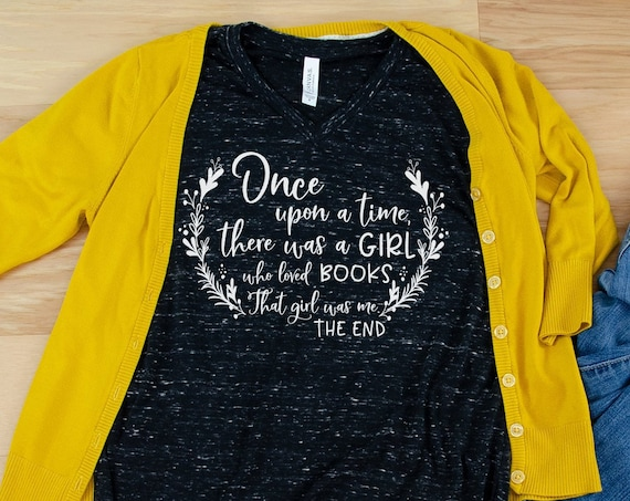 Once Upon a Time There was a Girl Who Loved Books Librarian Unisex V-Neck Short Sleeve T-shirt | Vintage-Feel & Super-Soft | Reading Tshirt
