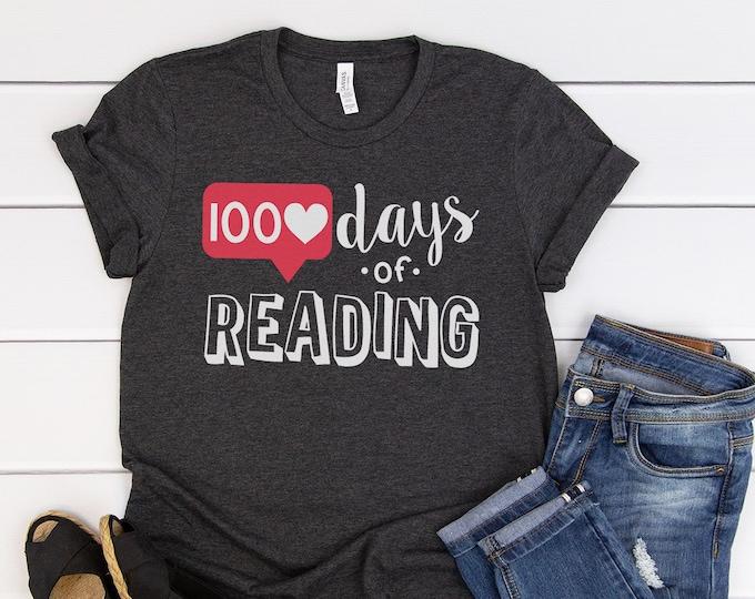 100 Days of School Heart Likes for Teacher or Librarian | Grade Level Tshirt | Cute Teacher Shirt Elementary | Growing, Reading, Custom