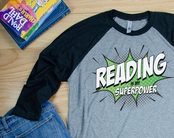 Reading is my Superpower Comic Book Reading & Librarian Super-soft 3/4 Sleeve Raglan T-shirt | Gift for Librarian | Library Science