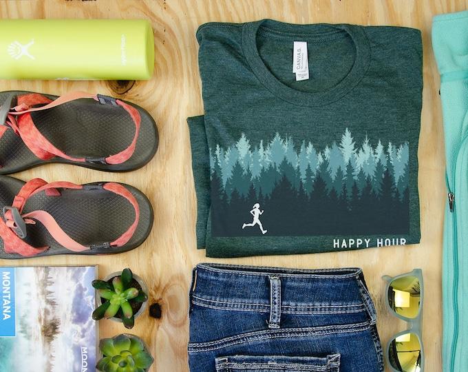 Run Happy Hour Woods Print Short Sleeve Unisex T-shirt | Trail Running | Running Gift | Gift for Her | Running shirt | Trail