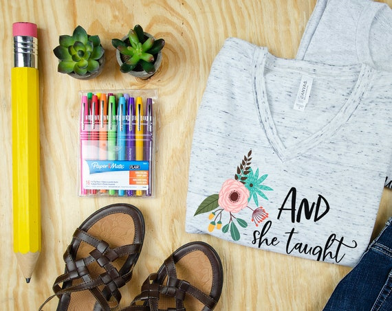 And She Taught Happily Ever After Unisex V-Neck and Crew Short Sleeve T-shirt   Vintage-Feel & Super-Soft   New Teacher Tshirt