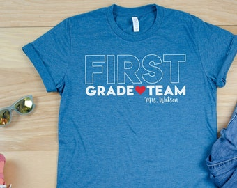 "BIG Letters ""Any"" Grade Team Teacher Shirt with Teacher Name 