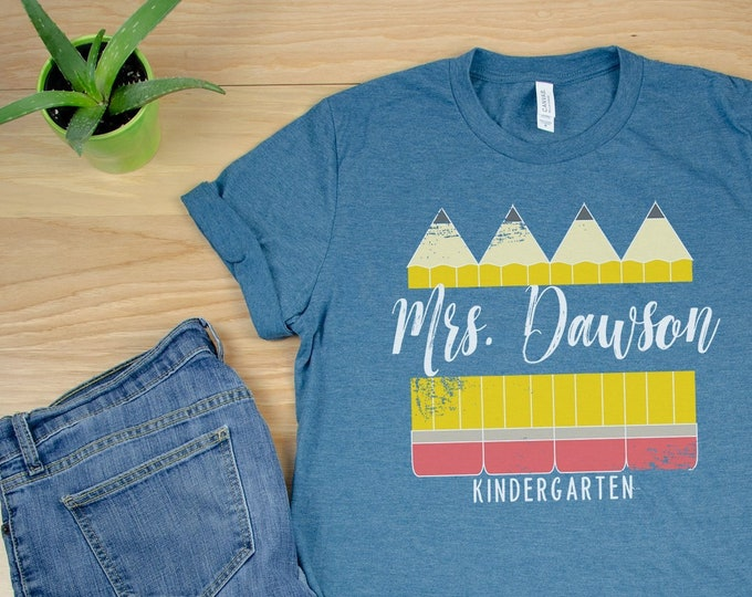 K-6 Vintage Pencil with Teacher Name Tshirt   Super-Soft Tshirt   Elementary and Grade Level Shirt   First Grade   Personalized