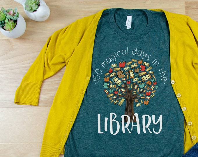 100 Magical Days in the Library Librarian & Reading Unisex Short Sleeve T-shirt
