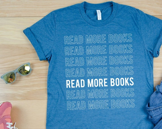 Read More Books Outlined- Librarian T-shirt   Super-Soft, Vintage-Feel Tshirt   Reading   Libraries   Gift for Librarians   Library Science