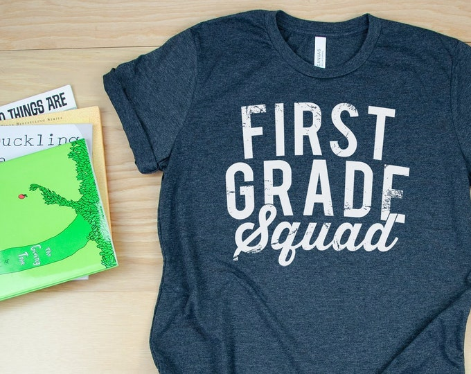 K-6 Grade Level Distressed and Vintage Squad Teacher Tshirt | Available for Kindergarten - Sixth Grade | Team Teacher Tee | Grade Level