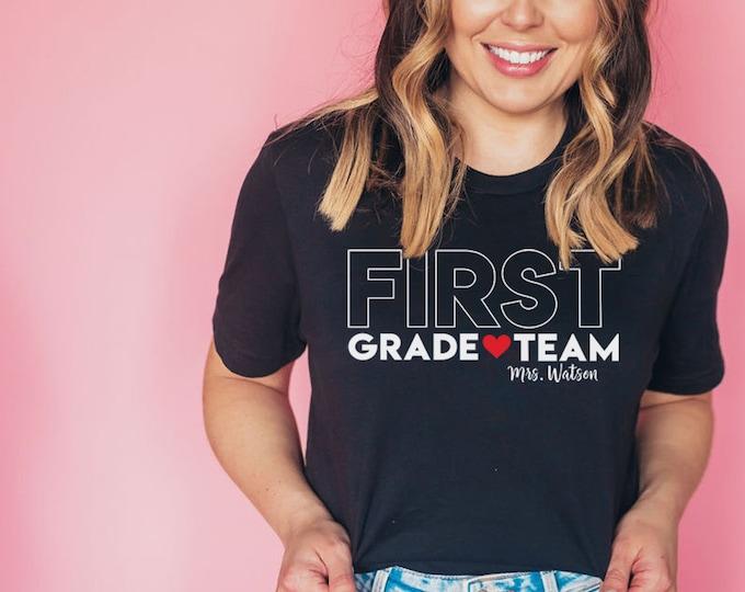 "BIG Letters ""Any"" Grade Team Teacher Shirt with Teacher Name | Grade Level Tshirt | Cute Team Shirt Elementary | First, Second, Third Grade"