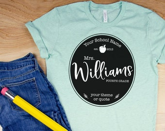 Farmhouse Style Personalized Any Grade Level Teacher T-shirt