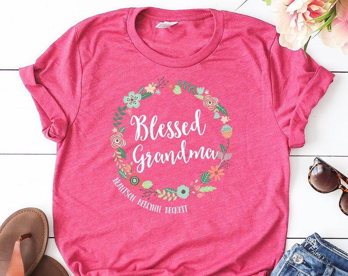 Personalized Blessed Grandma or Gigi Tshirt | Gift for Grandma | With Grandchildren Names | Gift for Her