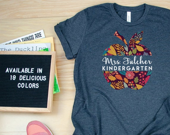 Personalized Teacher Floral Apple T-shirt | Available for K-6