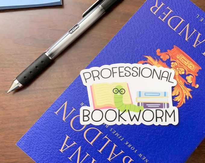 "Professional Bookworm 3"" x 1.92""  Die Cut Vinyl Sticker 
