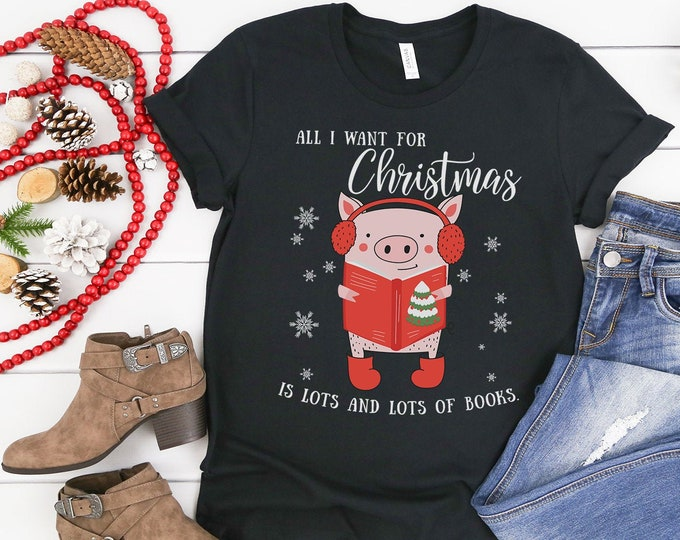 Christmas Librarian & Reading All I Want for Christmas is Lots of Books Tshirt |  Library Holiday Shirt | Bear, Sloth, and Pig